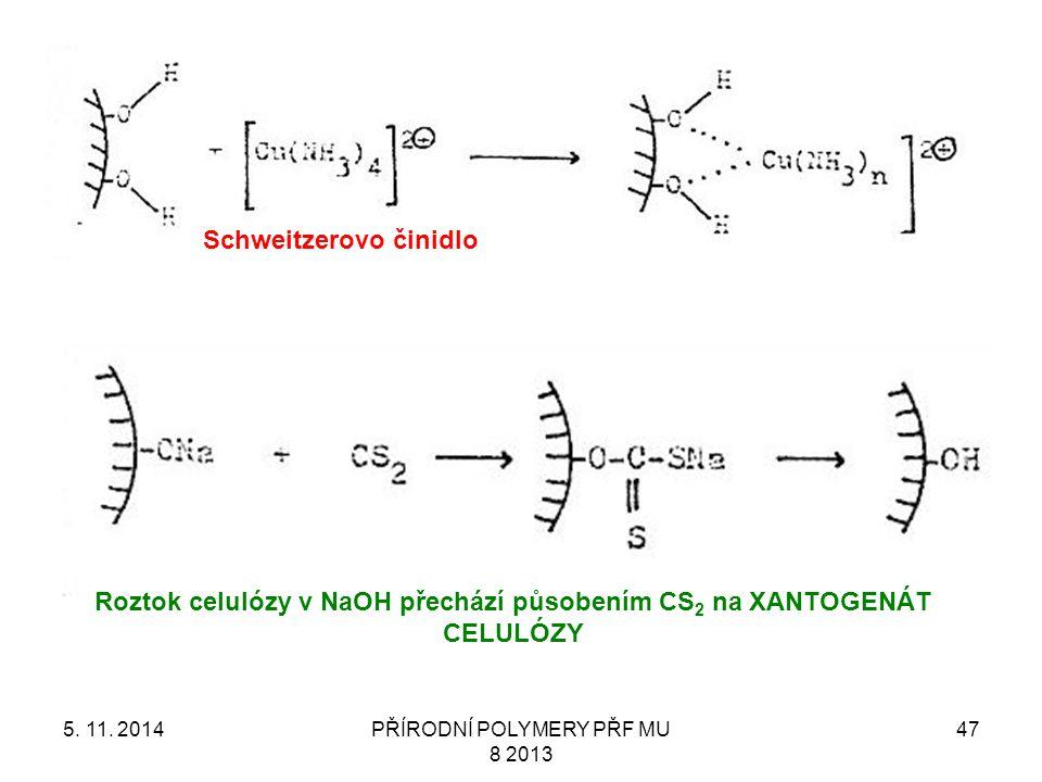 5. 11. 2014PŘÍRODNÍ POLYMERY PŘF MU 8 2013 47 Schweitzerovo činidlo Roztok celulózy v NaOH přechází působením CS 2 na XANTOGENÁT CELULÓZY