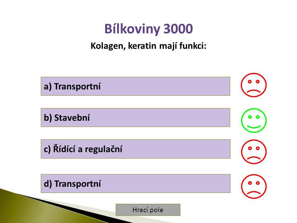 Hrací pole Bílkoviny 3000 Kolagen, keratin mají funkci: a) Transportní b) Stavební c) Řídící a regulační d) Transportní