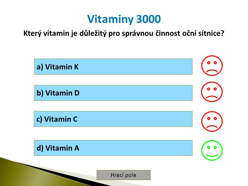 Hrací pole Vitaminy 3000 Který vitamin je důležitý pro správnou činnost oční sítnice.