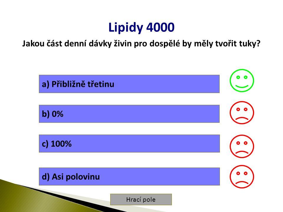 Hrací pole Lipidy 4000 Jakou část denní dávky živin pro dospělé by měly tvořit tuky.