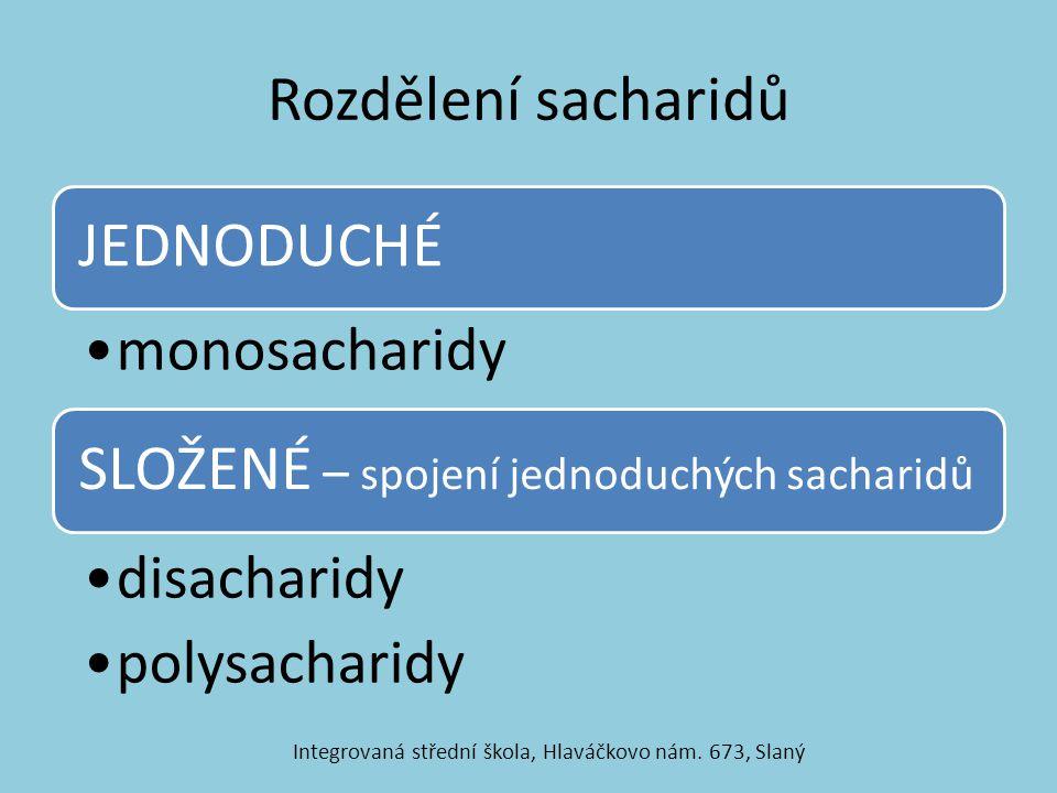 Rozdělení sacharidů JEDNODUCHÉ monosacharidy SLOŽENÉ – spojení jednoduchých sacharidů disacharidy polysacharidy Integrovaná střední škola, Hlaváčkovo
