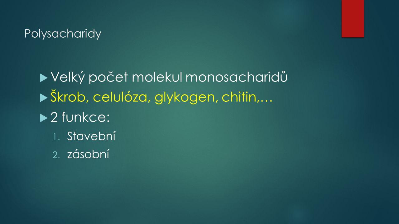 Polysacharidy  Velký počet molekul monosacharidů  Škrob, celulóza, glykogen, chitin,…  2 funkce: 1. Stavební 2. zásobní