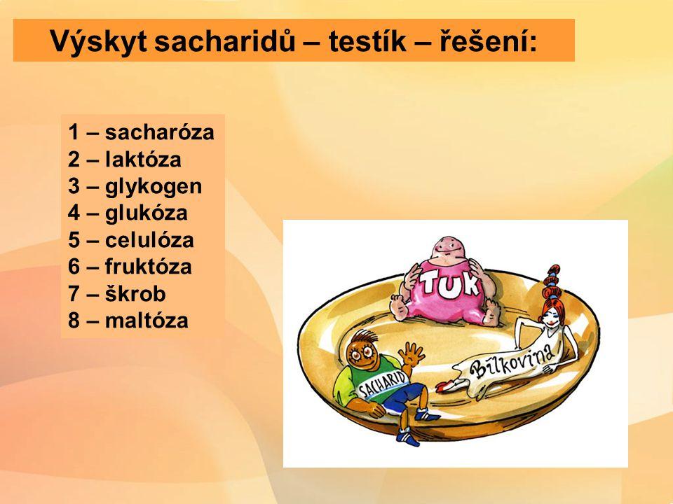 Výskyt sacharidů – testík – řešení: 1 – sacharóza 2 – laktóza 3 – glykogen 4 – glukóza 5 – celulóza 6 – fruktóza 7 – škrob 8 – maltóza
