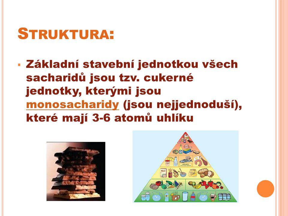S TRUKTURA :  Základní stavební jednotkou všech sacharidů jsou tzv.