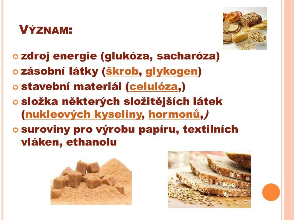 V ÝZNAM : zdroj energie (glukóza, sacharóza) zásobní látky (škrob, glykogen)škrobglykogen stavební materiál (celulóza,)celulóza složka některých složitějších látek (nukleových kyseliny, hormonů,)nukleových kyselinyhormonů suroviny pro výrobu papíru, textilních vláken, ethanolu