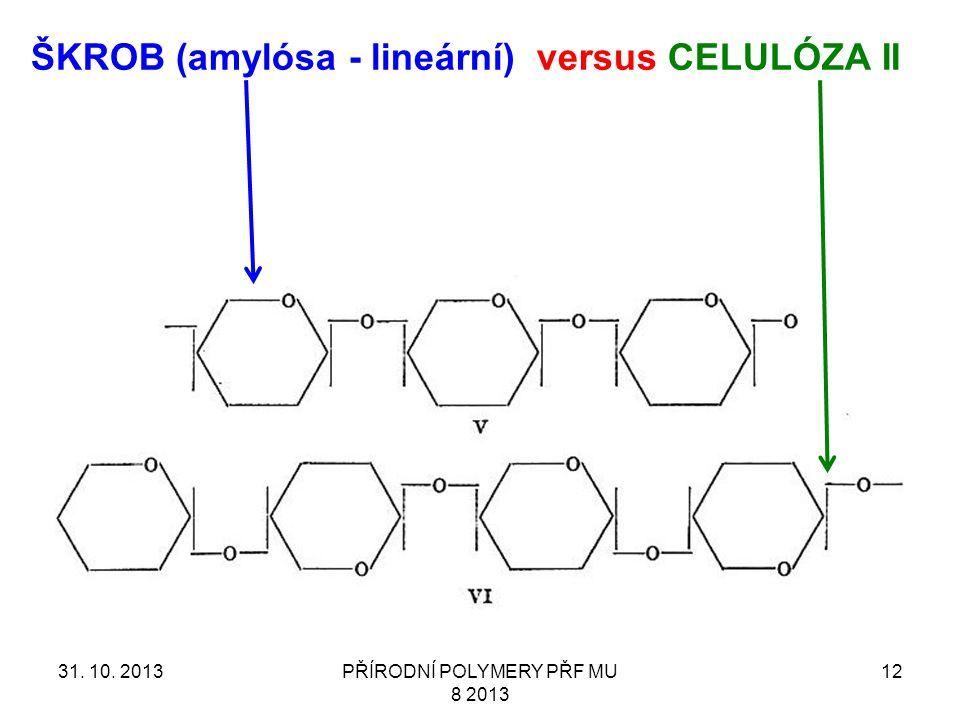 31. 10. 2013PŘÍRODNÍ POLYMERY PŘF MU 8 2013 12 ŠKROB (amylósa - lineární) versus CELULÓZA II