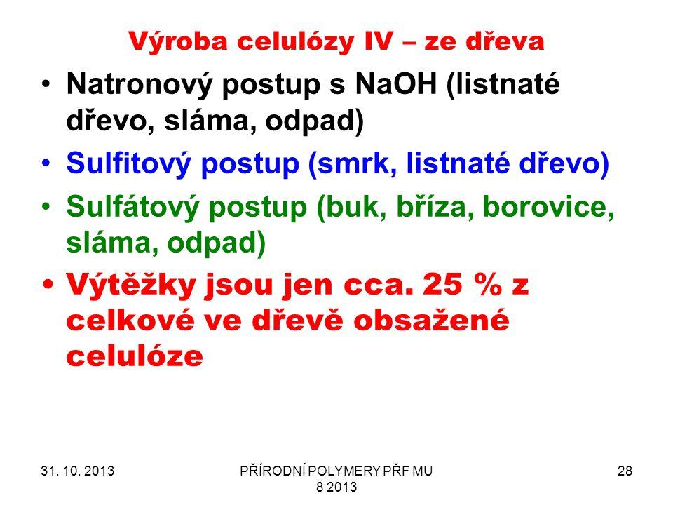Výroba celulózy IV – ze dřeva 31. 10. 2013PŘÍRODNÍ POLYMERY PŘF MU 8 2013 28 Natronový postup s NaOH (listnaté dřevo, sláma, odpad) Sulfitový postup (
