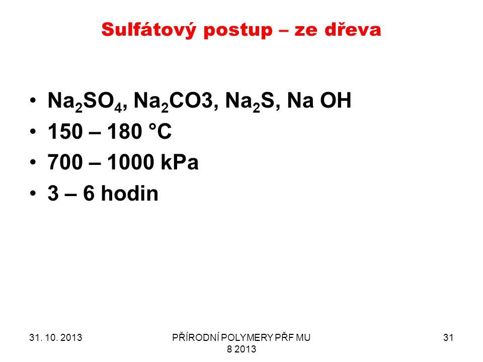 Sulfátový postup – ze dřeva 31. 10. 2013PŘÍRODNÍ POLYMERY PŘF MU 8 2013 31 Na 2 SO 4, Na 2 CO3, Na 2 S, Na OH 150 – 180 °C 700 – 1000 kPa 3 – 6 hodin