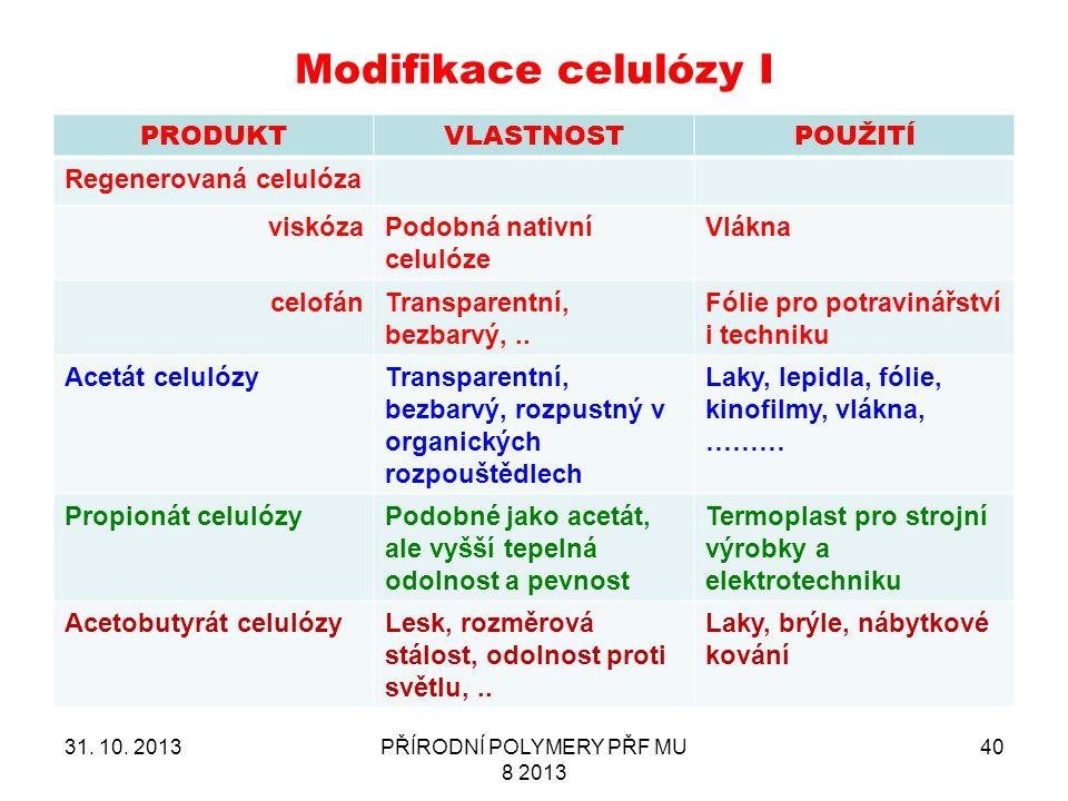 Modifikace celulózy I PRODUKTVLASTNOSTPOUŽITÍ Regenerovaná celulóza viskózaPodobná nativní celulóze Vlákna celofánTransparentní, bezbarvý,.. Fólie pro