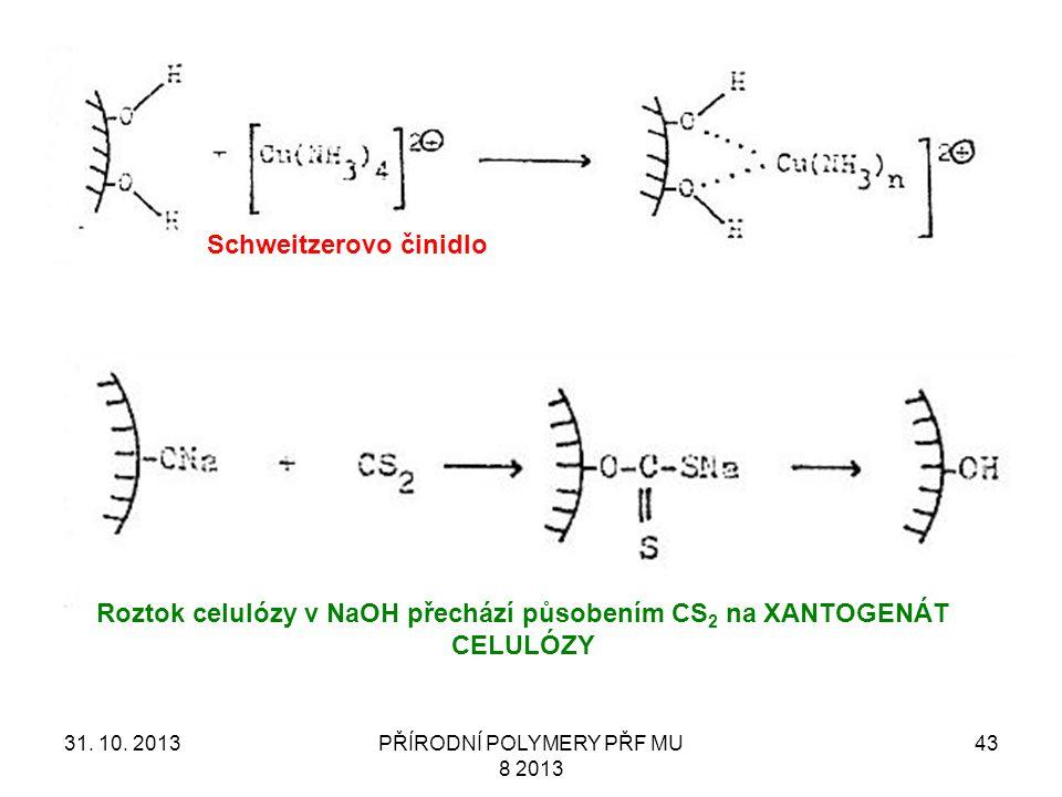 31. 10. 2013PŘÍRODNÍ POLYMERY PŘF MU 8 2013 43 Schweitzerovo činidlo Roztok celulózy v NaOH přechází působením CS 2 na XANTOGENÁT CELULÓZY