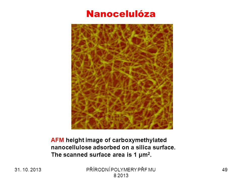 Nanocelulóza 31. 10. 2013PŘÍRODNÍ POLYMERY PŘF MU 8 2013 49 AFM height image of carboxymethylated nanocellulose adsorbed on a silica surface. The scan