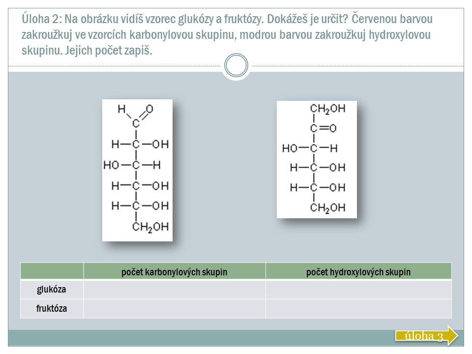 Úloha 2: Na obrázku vidíš vzorec glukózy a fruktózy. Dokážeš je určit? Červenou barvou zakroužkuj ve vzorcích karbonylovou skupinu, modrou barvou zakr