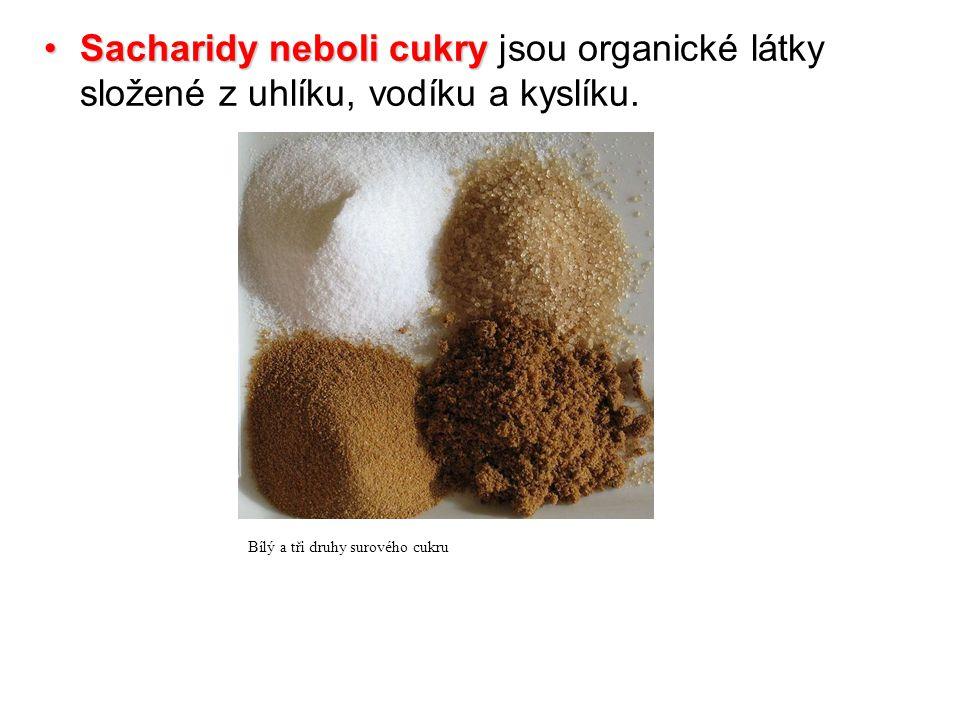 Sacharidy neboli cukrySacharidy neboli cukry jsou organické látky složené z uhlíku, vodíku a kyslíku.