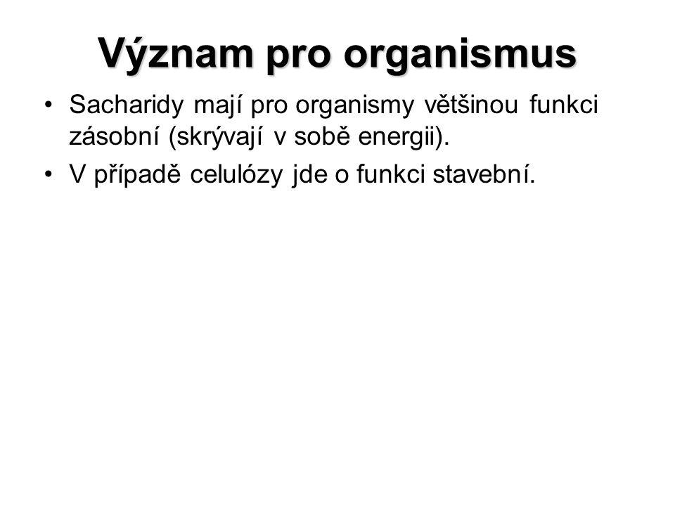 Význam pro organismus Sacharidy mají pro organismy většinou funkci zásobní (skrývají v sobě energii). V případě celulózy jde o funkci stavební.