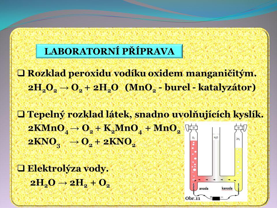 LABORATORNÍ PŘÍPRAVA  Rozklad peroxidu vodíku oxidem manganičitým.  Tepelný rozklad látek, snadno uvolňujících kyslík.  Elektrolýza vody. 2H 2 O 2