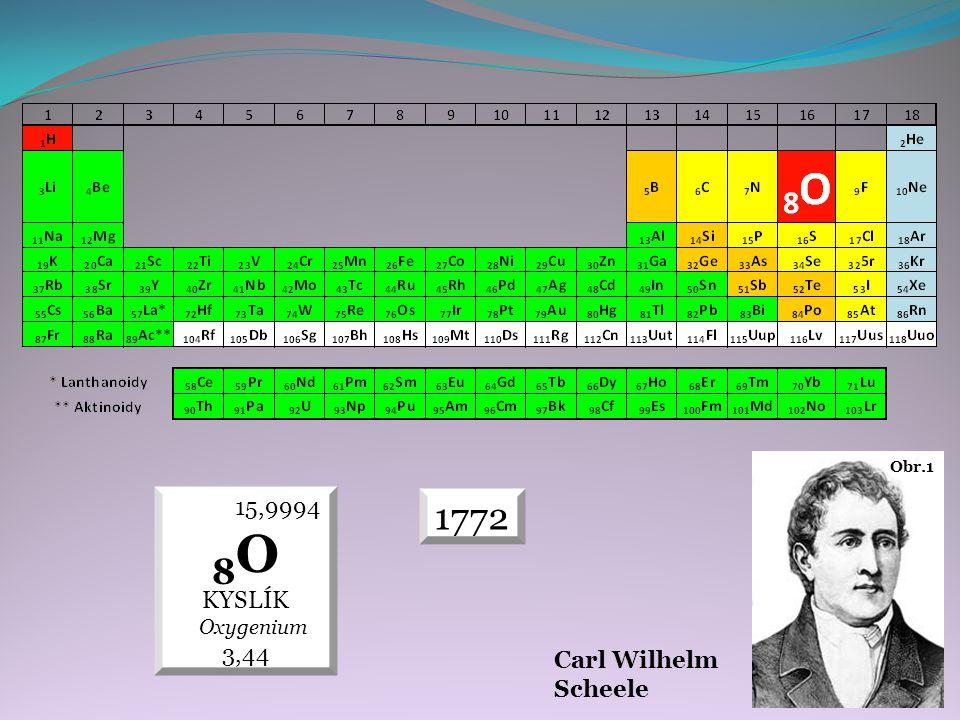 Carl Wilhelm Scheele Obr.1 1772 15,9994 8 O KYSLÍK Oxygenium 3,44