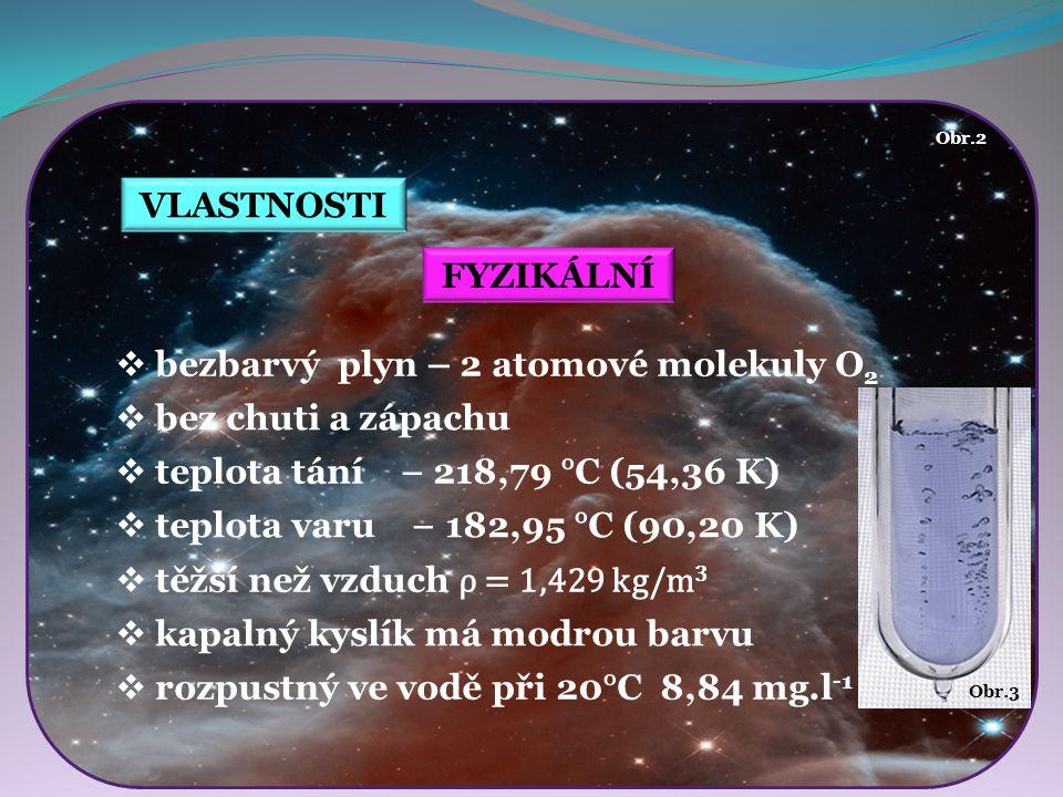 VLASTNOSTI FYZIKÁLNÍ  bezbarvý plyn – 2 atomové molekuly O 2  bez chuti a zápachu  těžší než vzduch ρ = 1,429 kg/m 3  kapalný kyslík má modrou bar