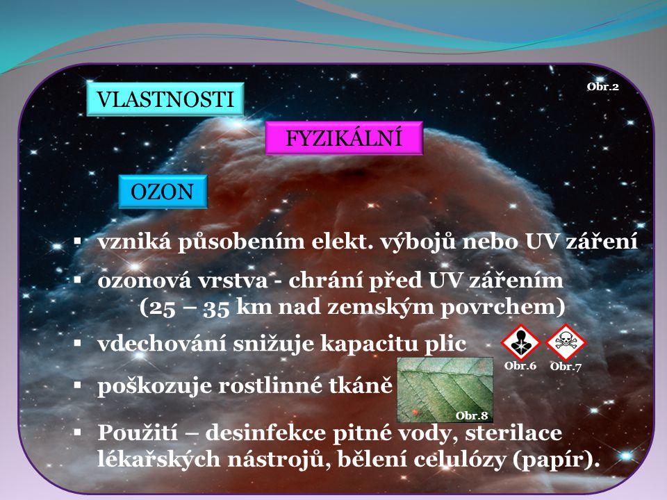 VLASTNOSTI FYZIKÁLNÍ  vzniká působením elekt. výbojů nebo UV záření  ozonová vrstva - chrání před UV zářením (25 – 35 km nad zemským povrchem) Obr.2