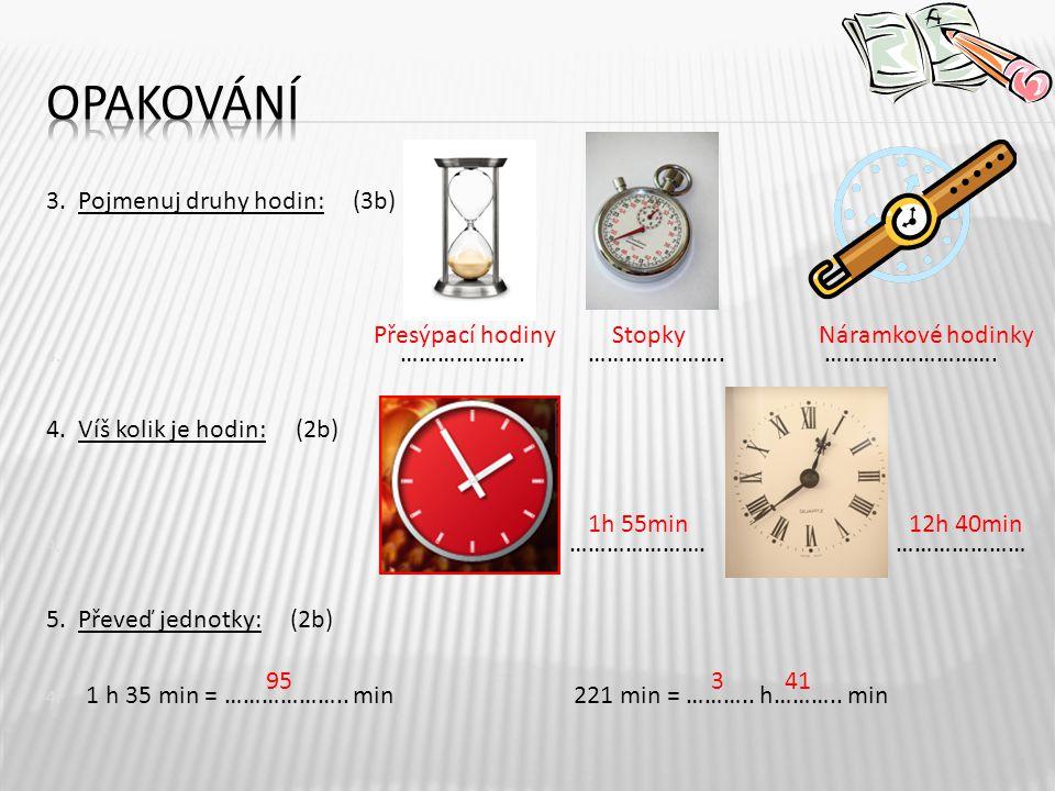 3.Pojmenuj druhy hodin: (3b) 4. ……………….. ………………….