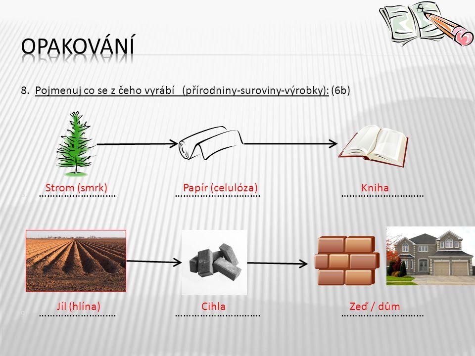 8.Pojmenuj co se z čeho vyrábí (přírodniny-suroviny-výrobky): (6b) 8.