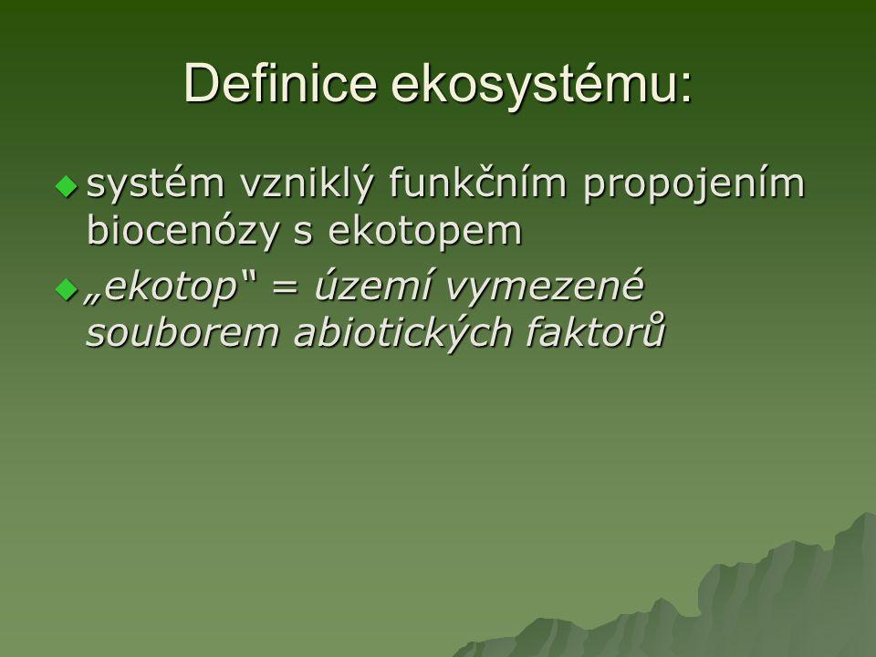 Definice ekosystému:  dynamický cirkulační systém živých organismů a jejich abiotického prostředí, s koloběhem látek a tokem energie, schopný samostatné existence; jde o základní, prostorově vymezenou jednotku biosféry