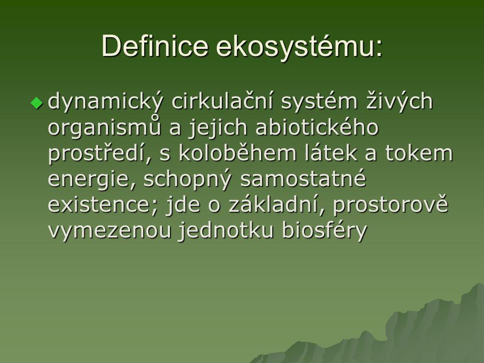 Definice ekosystému:  populace + populace = biocenóza  biocenóza + neživé prostředí =  EKOSYSTÉM: