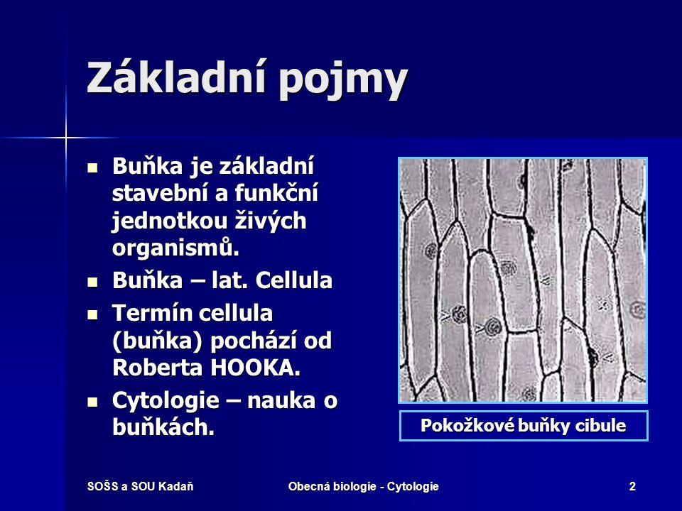 SOŠS a SOU KadaňObecná biologie - Cytologie2 Základní pojmy Buňka je základní stavební a funkční jednotkou živých organismů. Buňka je základní stavebn