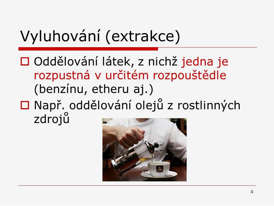 Vyluhování (extrakce)  Oddělování látek, z nichž jedna je rozpustná v určitém rozpouštědle (benzínu, etheru aj.)  Např. oddělování olejů z rostlinný