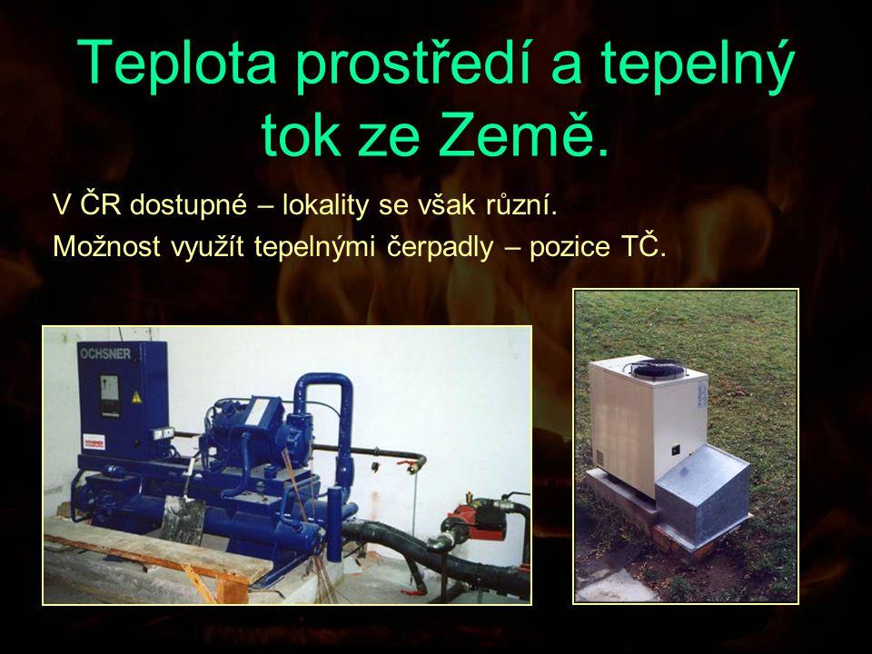 Teplota prostředí a tepelný tok ze Země. V ČR dostupné – lokality se však různí.