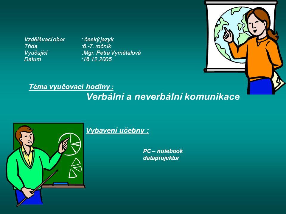 Vzdělávací obor: český jazyk Třída:6.-7. ročník Vyučující :Mgr.