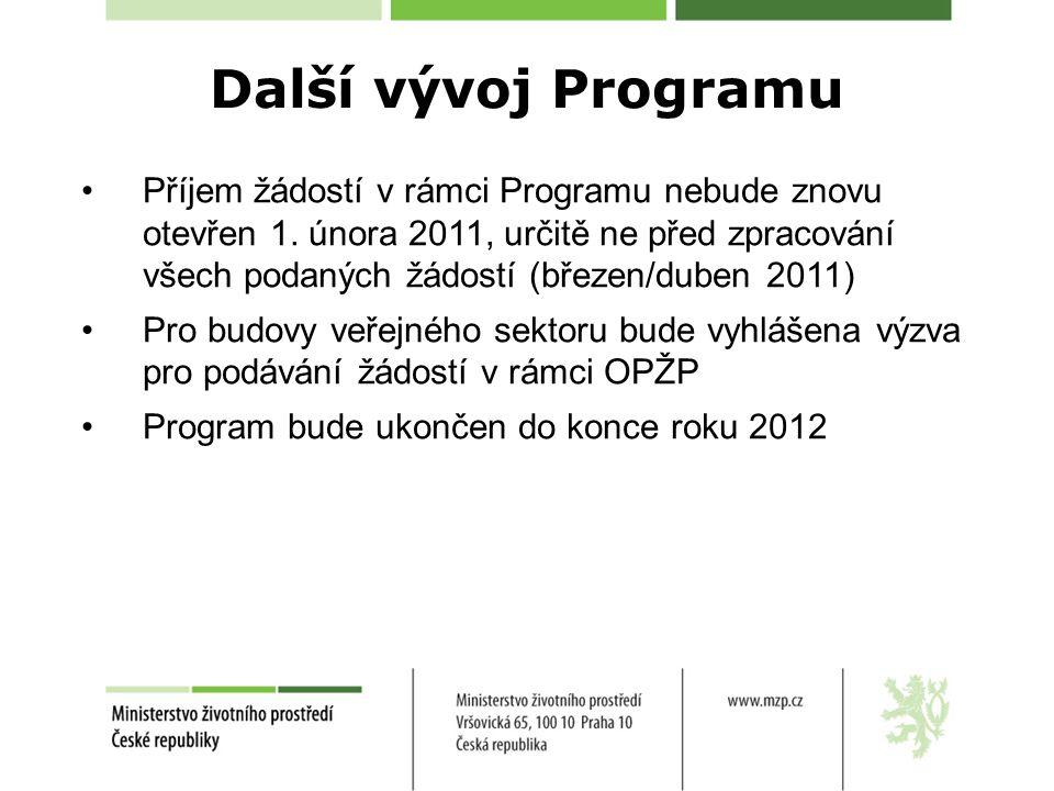 Příjem žádostí v rámci Programu nebude znovu otevřen 1. února 2011, určitě ne před zpracování všech podaných žádostí (březen/duben 2011) Pro budovy ve