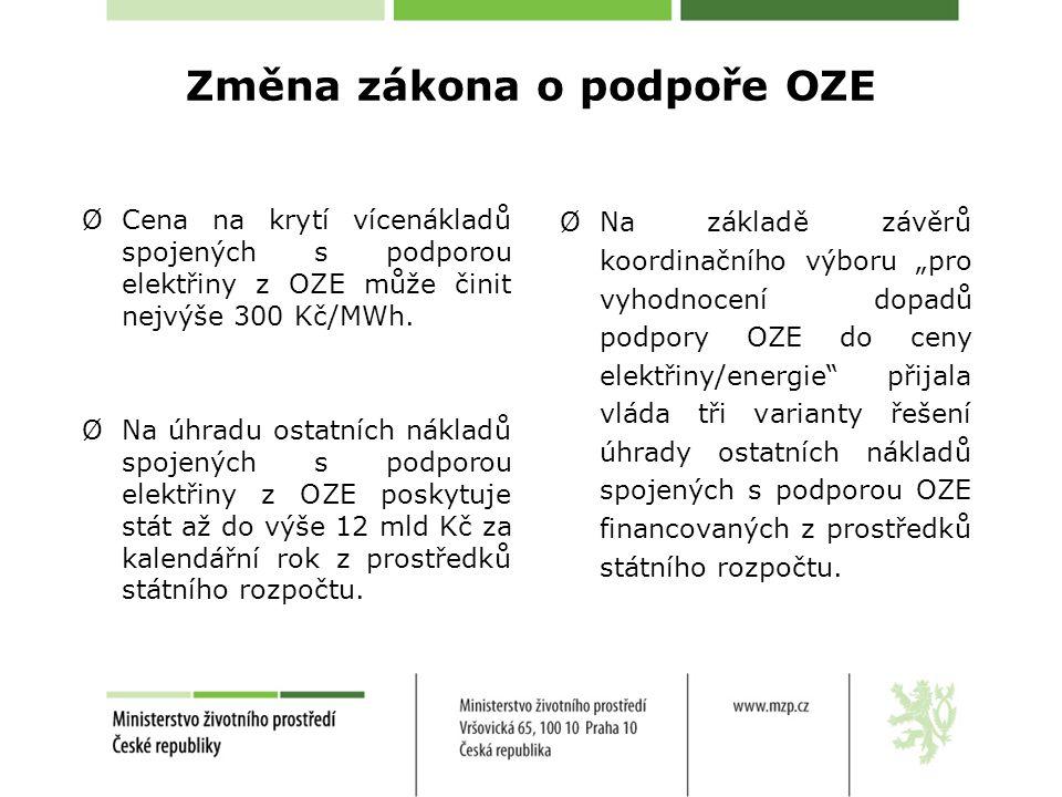 Změna zákona o podpoře OZE ØCena na krytí vícenákladů spojených s podporou elektřiny z OZE může činit nejvýše 300 Kč/MWh. ØNa úhradu ostatních nákladů