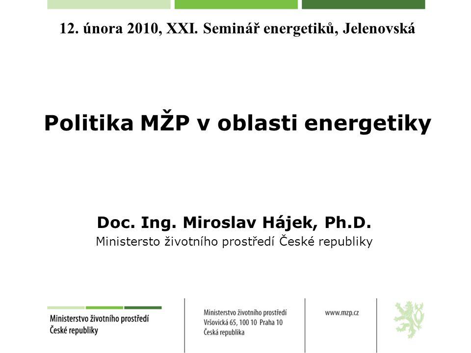 12. února 2010, XXI. Seminář energetiků, Jelenovská Politika MŽP v oblasti energetiky Doc. Ing. Miroslav Hájek, Ph.D. Ministersto životního prostředí
