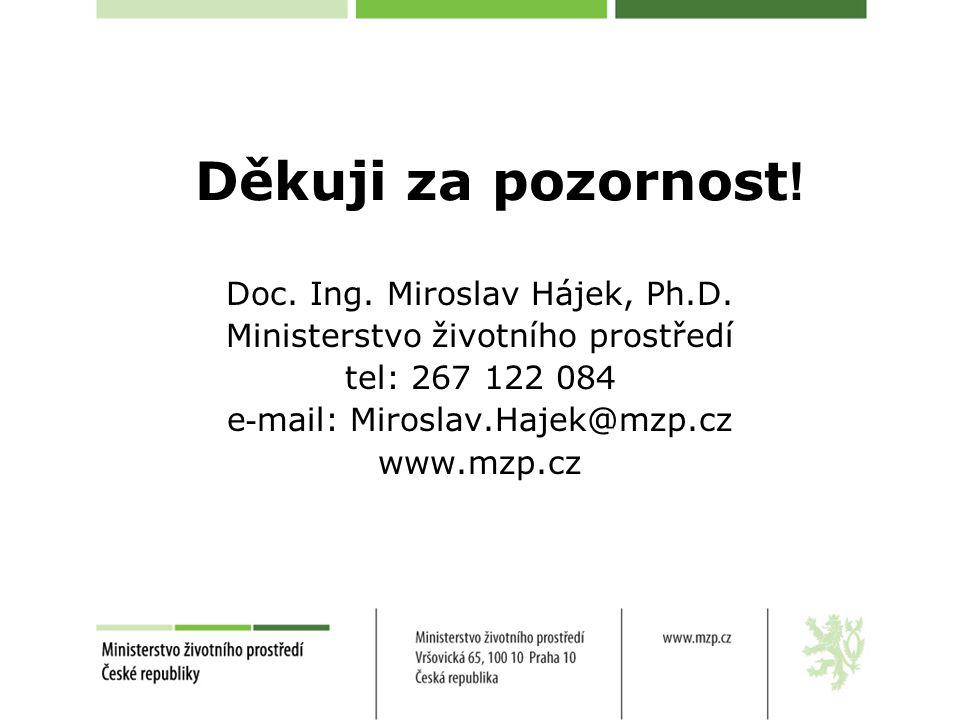 Děkuji za pozornost ! Doc. Ing. Miroslav Hájek, Ph.D. Ministerstvo životního prostředí tel: 267 122 084 e - mail: Miroslav.Hajek@mzp.cz www.mzp.cz
