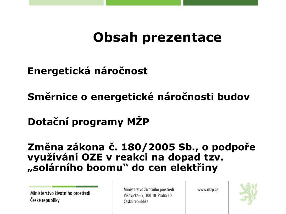 Obsah prezentace Energetická náročnost Směrnice o energetické náročnosti budov Dotační programy MŽP Změna zákona č. 180/2005 Sb., o podpoře využívání