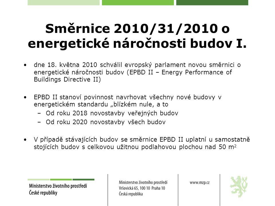 Směrnice 2010/31/2010 o energetické náročnosti budov I. dne 18. května 2010 schválil evropský parlament novou směrnici o energetické náročnosti budov
