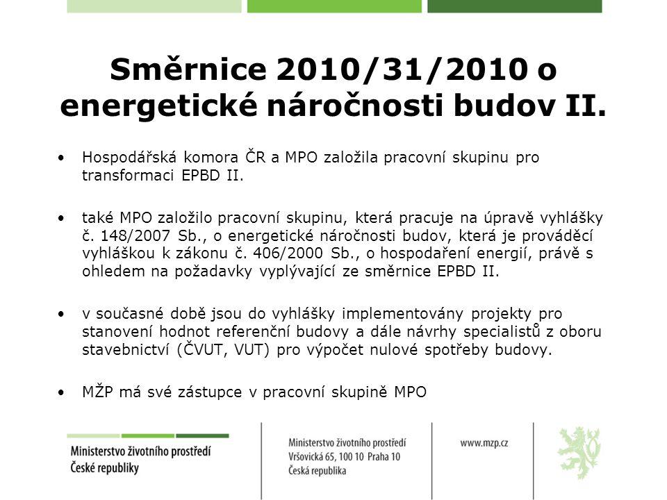 Směrnice 2010/31/2010 o energetické náročnosti budov II. Hospodářská komora ČR a MPO založila pracovní skupinu pro transformaci EPBD II. také MPO zalo