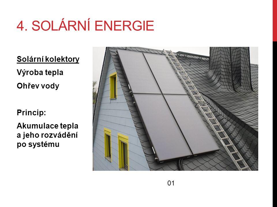 4. SOLÁRNÍ ENERGIE Solární kolektory Výroba tepla Ohřev vody Princip: Akumulace tepla a jeho rozvádění po systému 01
