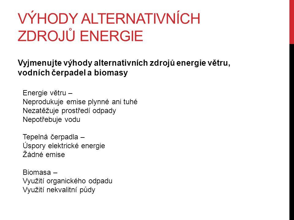 VÝHODY ALTERNATIVNÍCH ZDROJŮ ENERGIE Vyjmenujte výhody alternativních zdrojů energie větru, vodních čerpadel a biomasy Energie větru – Neprodukuje emise plynné ani tuhé Nezatěžuje prostředí odpady Nepotřebuje vodu Tepelná čerpadla – Úspory elektrické energie Žádné emise Biomasa – Využití organického odpadu Využití nekvalitní půdy