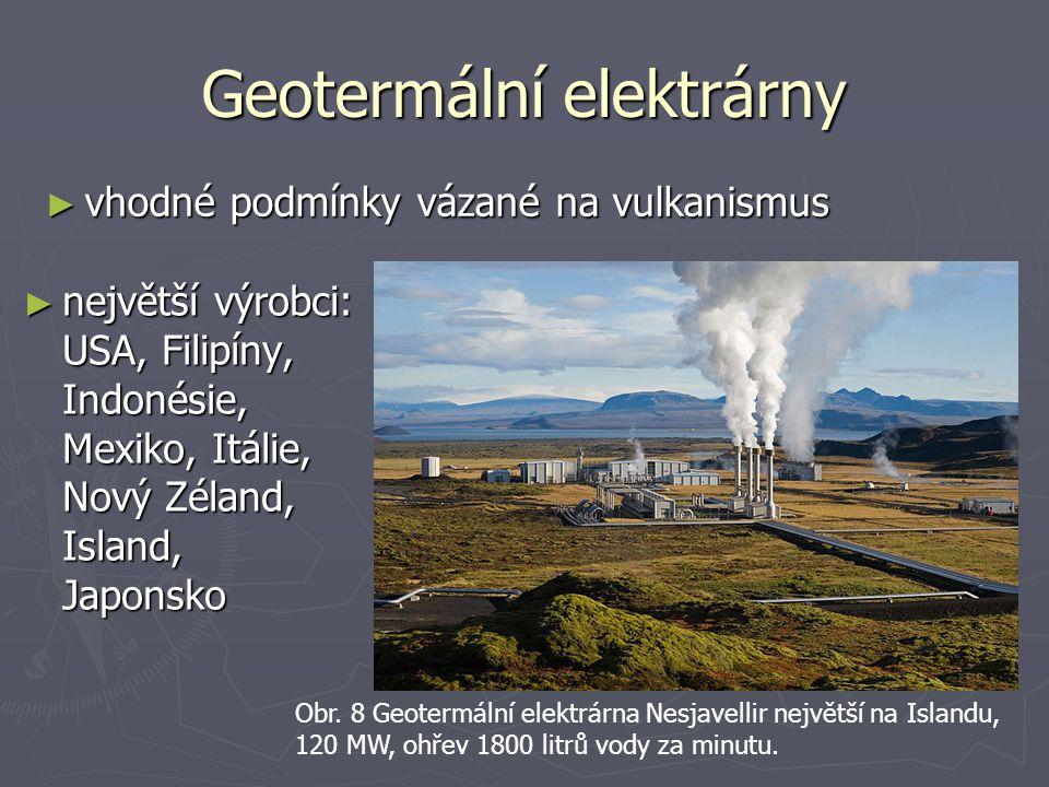 Geotermální elektrárny ► vhodné podmínky vázané na vulkanismus ► největší výrobci: USA, Filipíny, Indonésie, Mexiko, Itálie, Nový Zéland, Island, Japo