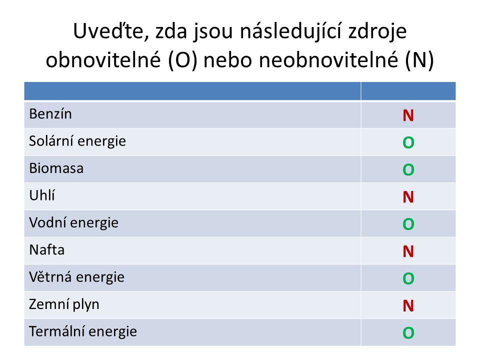 Uveďte, zda jsou následující zdroje obnovitelné (O) nebo neobnovitelné (N) Benzín N Solární energie O Biomasa O Uhlí N Vodní energie O Nafta N Větrná energie O Zemní plyn N Termální energie O