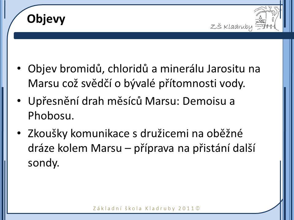 Základní škola Kladruby 2011  Objevy Objev bromidů, chloridů a minerálu Jarositu na Marsu což svědčí o bývalé přítomnosti vody. Upřesnění drah měsíců