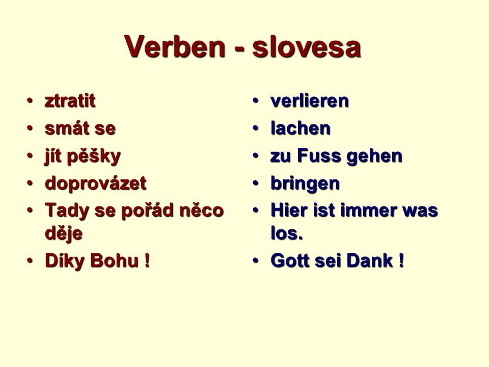 Verben - slovesa ztratitztratit smát sesmát se jít pěškyjít pěšky doprovázetdoprovázet Tady se pořád něco dějeTady se pořád něco děje Díky Bohu !Díky Bohu .