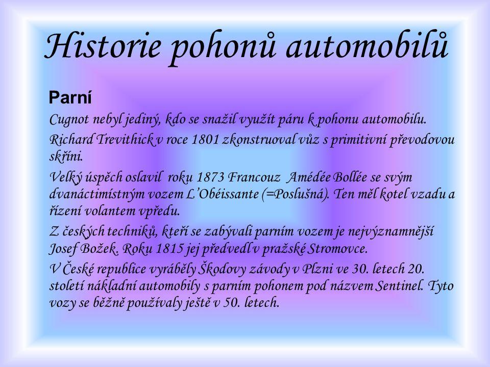 Parní Cugnot nebyl jediný, kdo se snažil využít páru k pohonu automobilu. Richard Trevithick v roce 1801 zkonstruoval vůz s primitivní převodovou skří