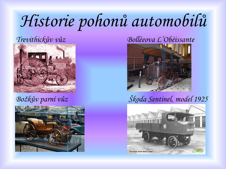 Historie pohonů automobilů Trevithickův vůz Bolléeova L'Obéissante Božkův parní vůz Škoda Sentinel, model 1925
