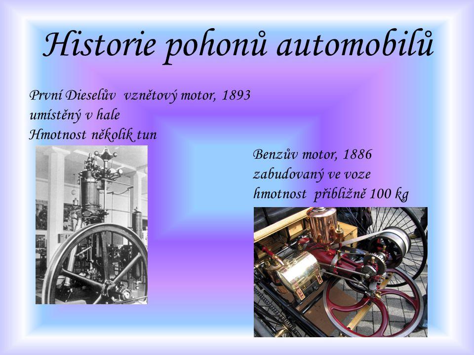 Historie pohonů automobilů První Dieselův vznětový motor, 1893 umístěný v hale Hmotnost několik tun Benzův motor, 1886 zabudovaný ve voze hmotnost při