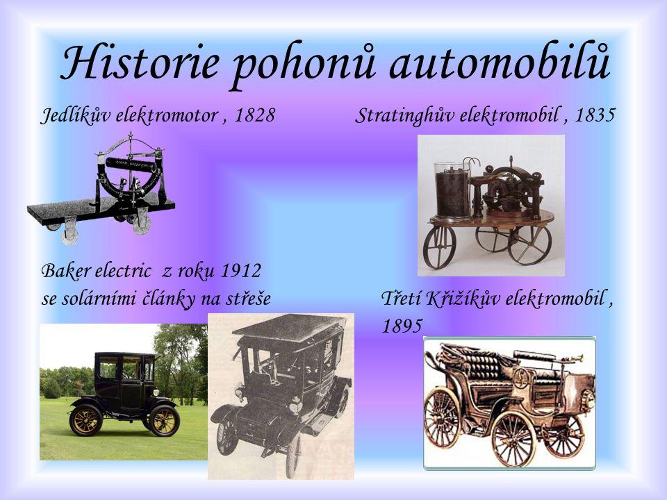 Historie pohonů automobilů Jedlíkův elektromotor, 1828 Stratinghův elektromobil, 1835 Baker electric z roku 1912 se solárními články na střešeTřetí Kř