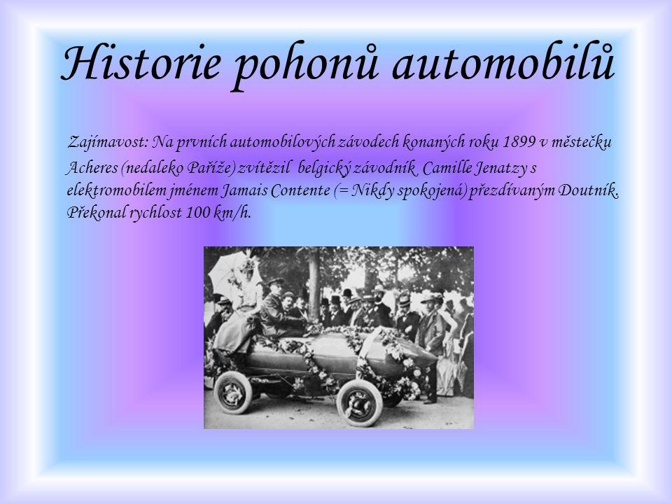 Historie pohonů automobilů Zajímavost: Na prvních automobilových závodech konaných roku 1899 v městečku Acheres (nedaleko Paříže) zvítězil belgický zá