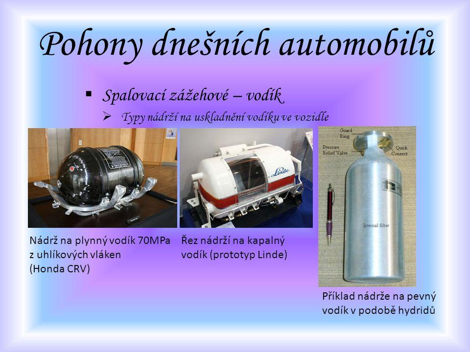 Pohony dnešních automobilů  Spalovací zážehové – vodík  Typy nádrží na uskladnění vodíku ve vozidle Nádrž na plynný vodík 70MPa z uhlíkových vláken