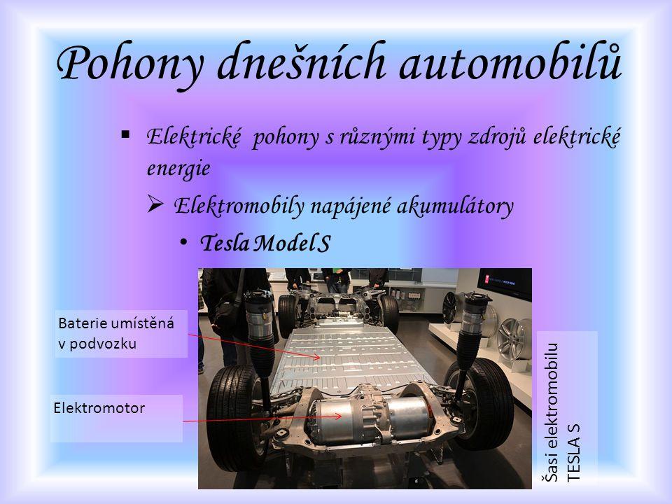Pohony dnešních automobilů  Elektrické pohony s různými typy zdrojů elektrické energie  Elektromobily napájené akumulátory Tesla Model S Šasi elektr